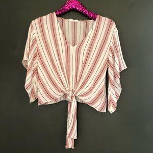 [American Threads] Striped Boho Crop Top - Medium